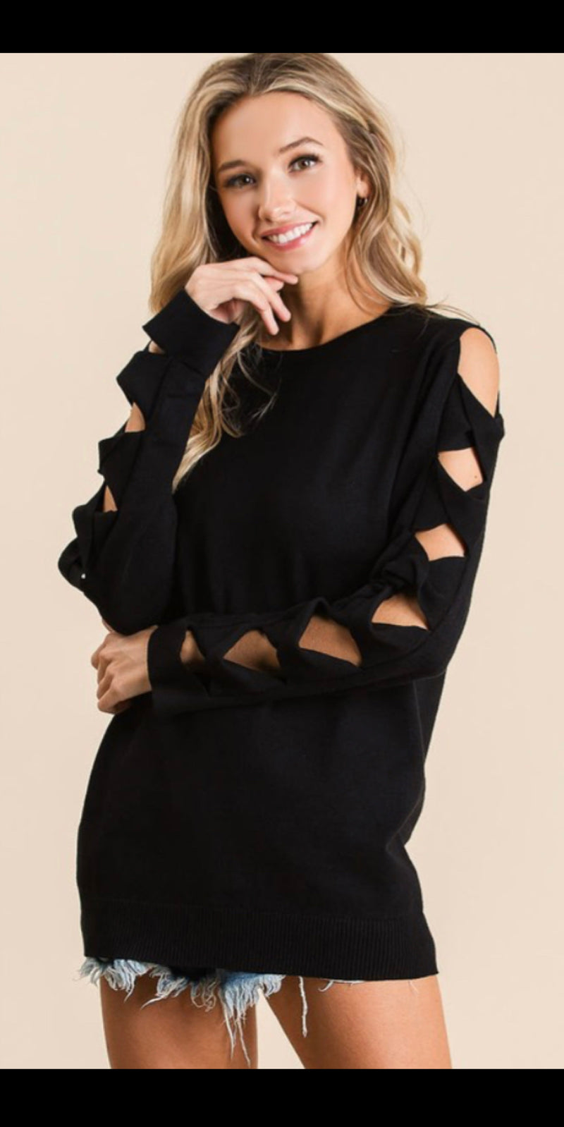 Chesney Black Arm Detail Top
