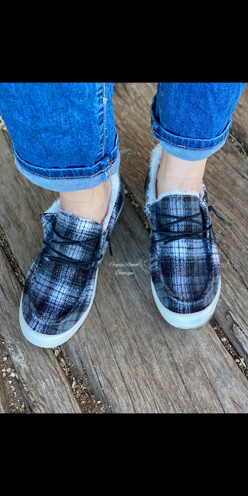 Caxton Black Plaid Slip On