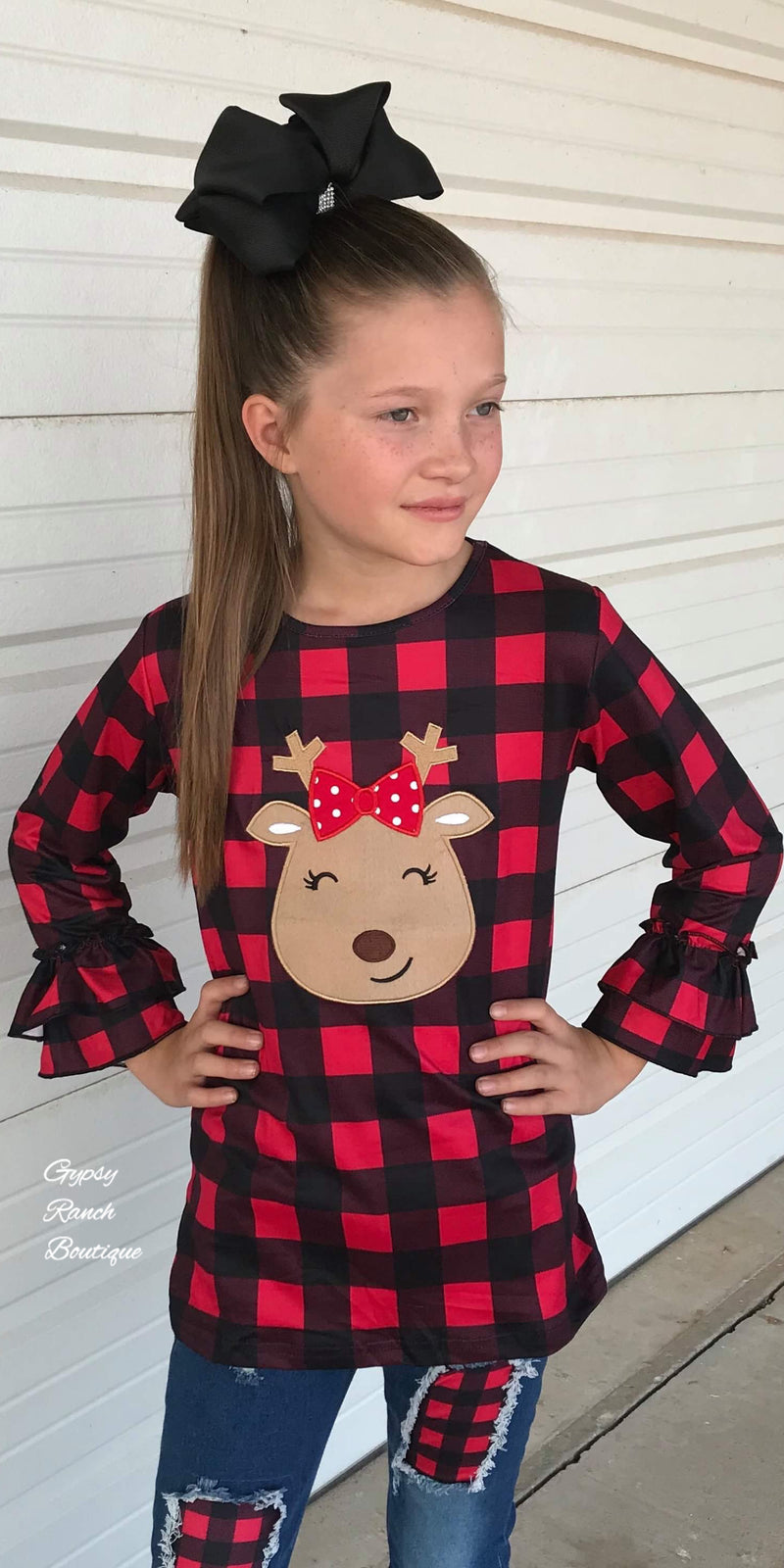 Reindeer Buffalo Plaid Top - Kids