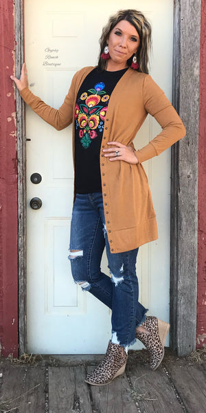 Bailey Mustard Snap Cardigan - Also in Plus Size