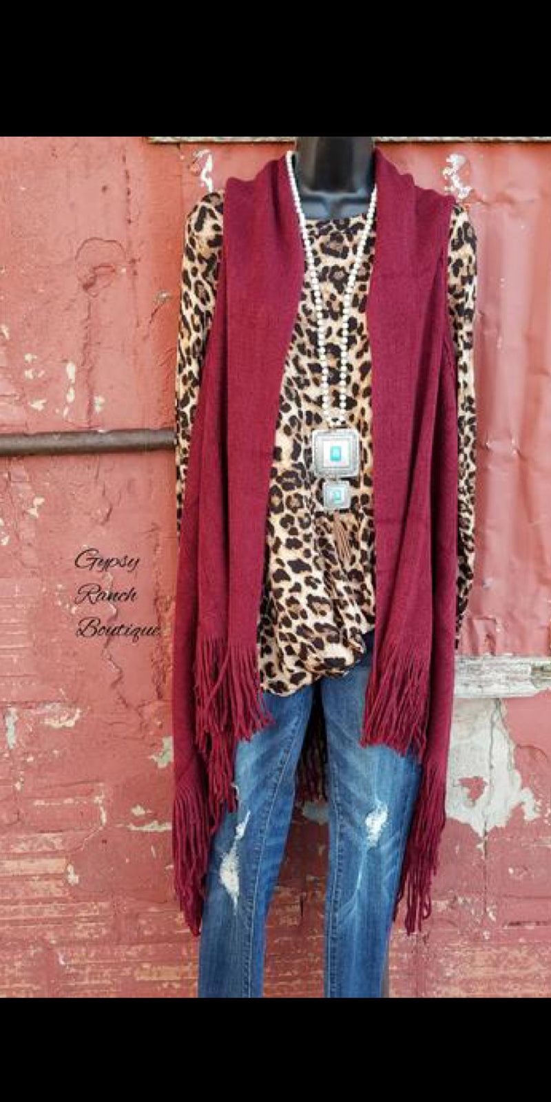 Fringe Benefits Burgundy Vest- Also in Plus Size