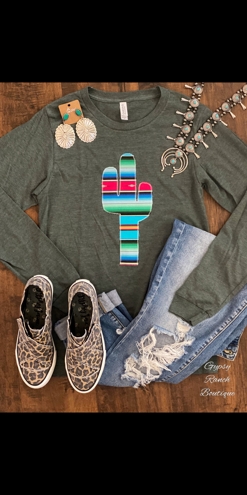 Laketon Embroidered Serape Cactus Top  - Also in Plus Size