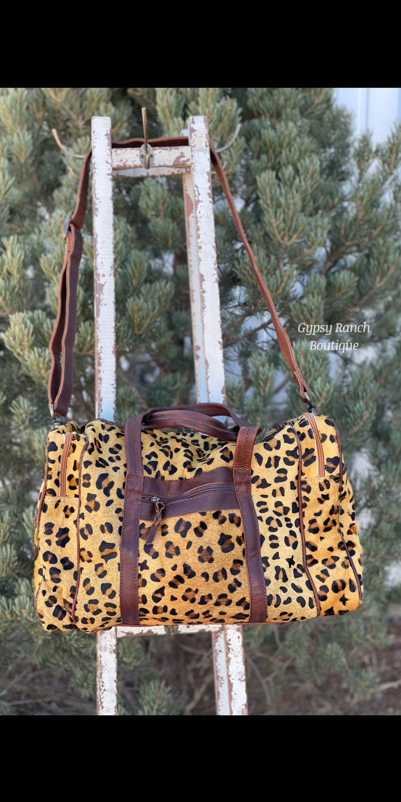 Stephenville Leopard Hair On Hide Weekender Duffle Bag
