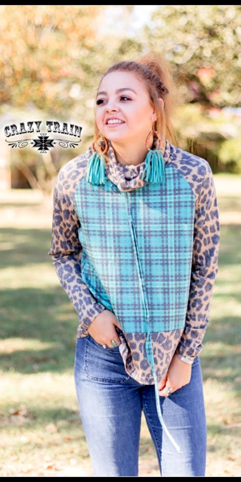 Tulsa Time Leopard Plaid Pullover Top - Also in Plus Size