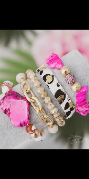Yours Truly Pink Leopard Collection Bracelet