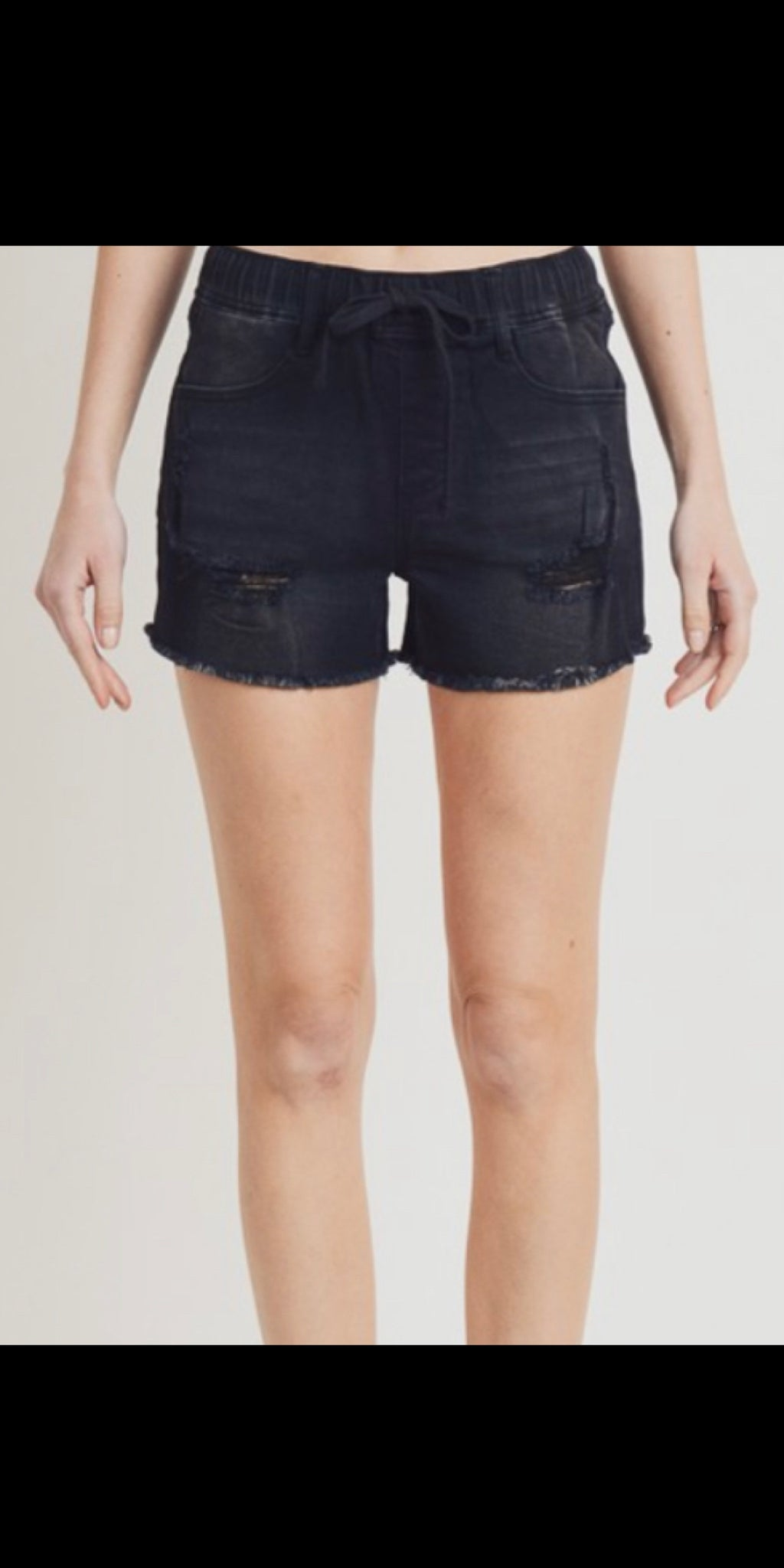 Boujee Black Distressed Denim Shorts - Also in Plus Size