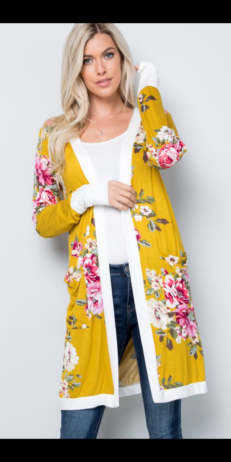 Mabry Mustard Floral Cardigan - Also in Plus Size