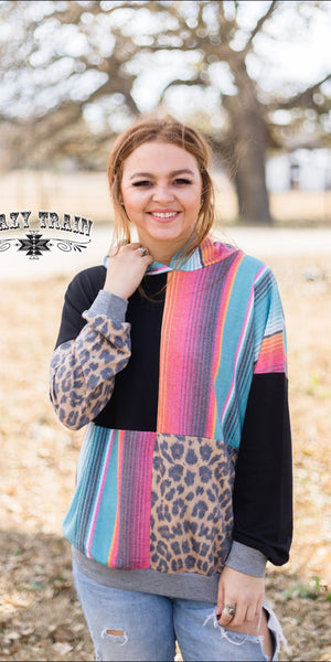 Happy Hour Serape Leopard Hooded Top - Also in Plus Size