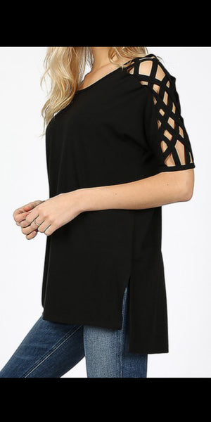 Rosita Black Criss Cross Sleeve Top - Also in Plus Size