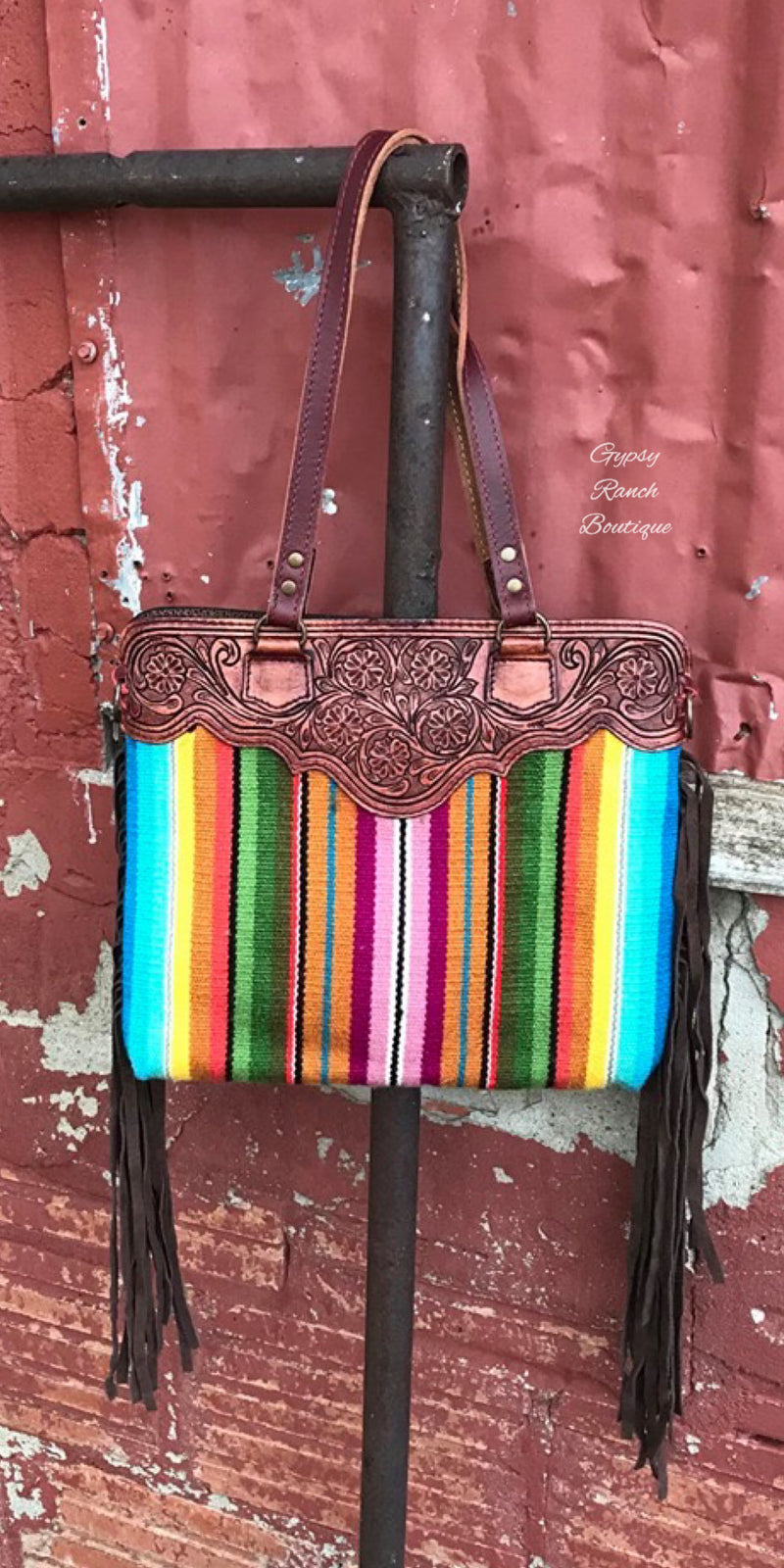 Tularosa Serape Fringe Tooled Purse Tote