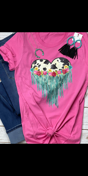 Cowhide Hearts & Fringe Top - Also in Plus Size