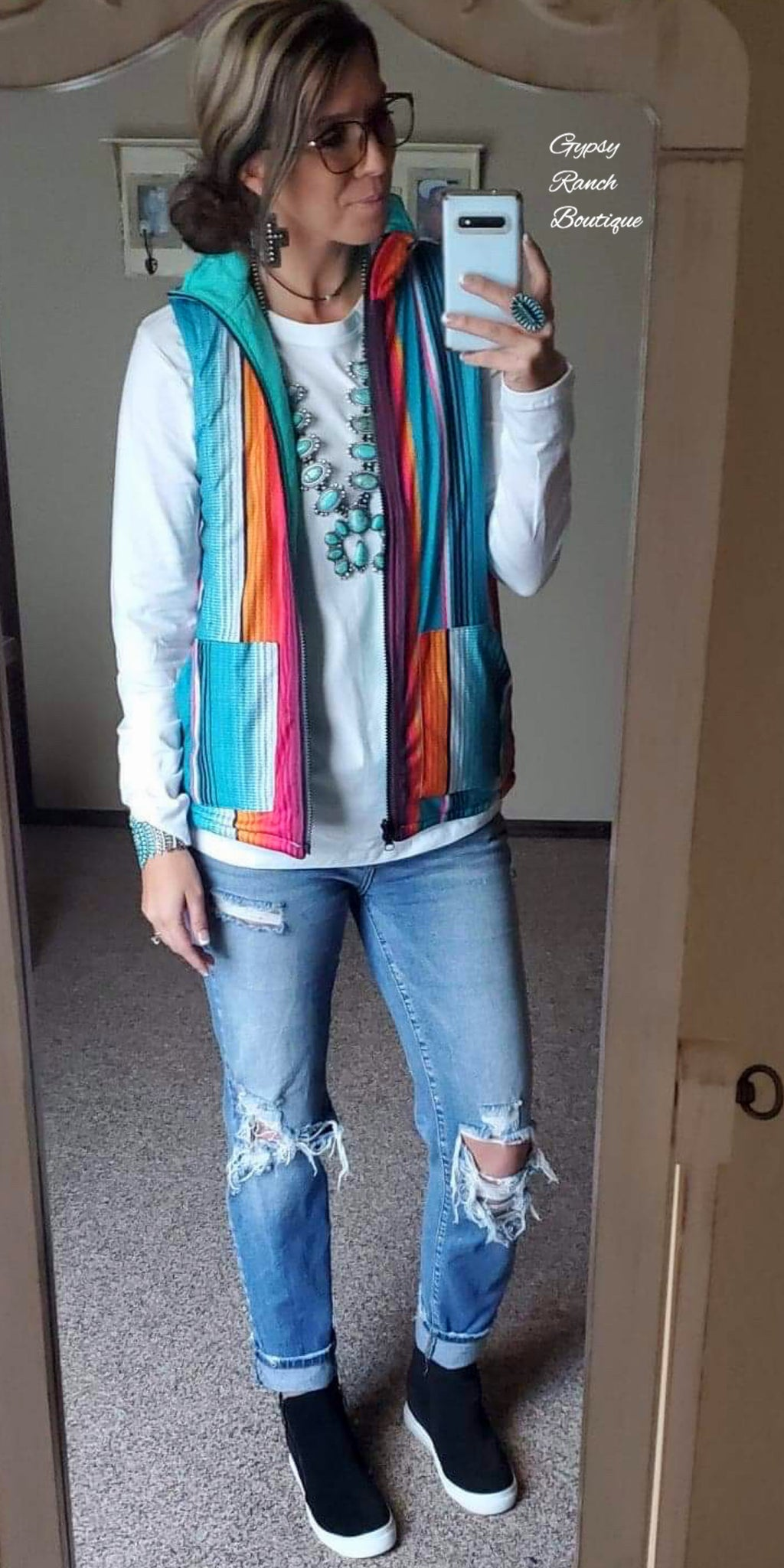 West Town Serape Reversible Vest - Also in Plus Size