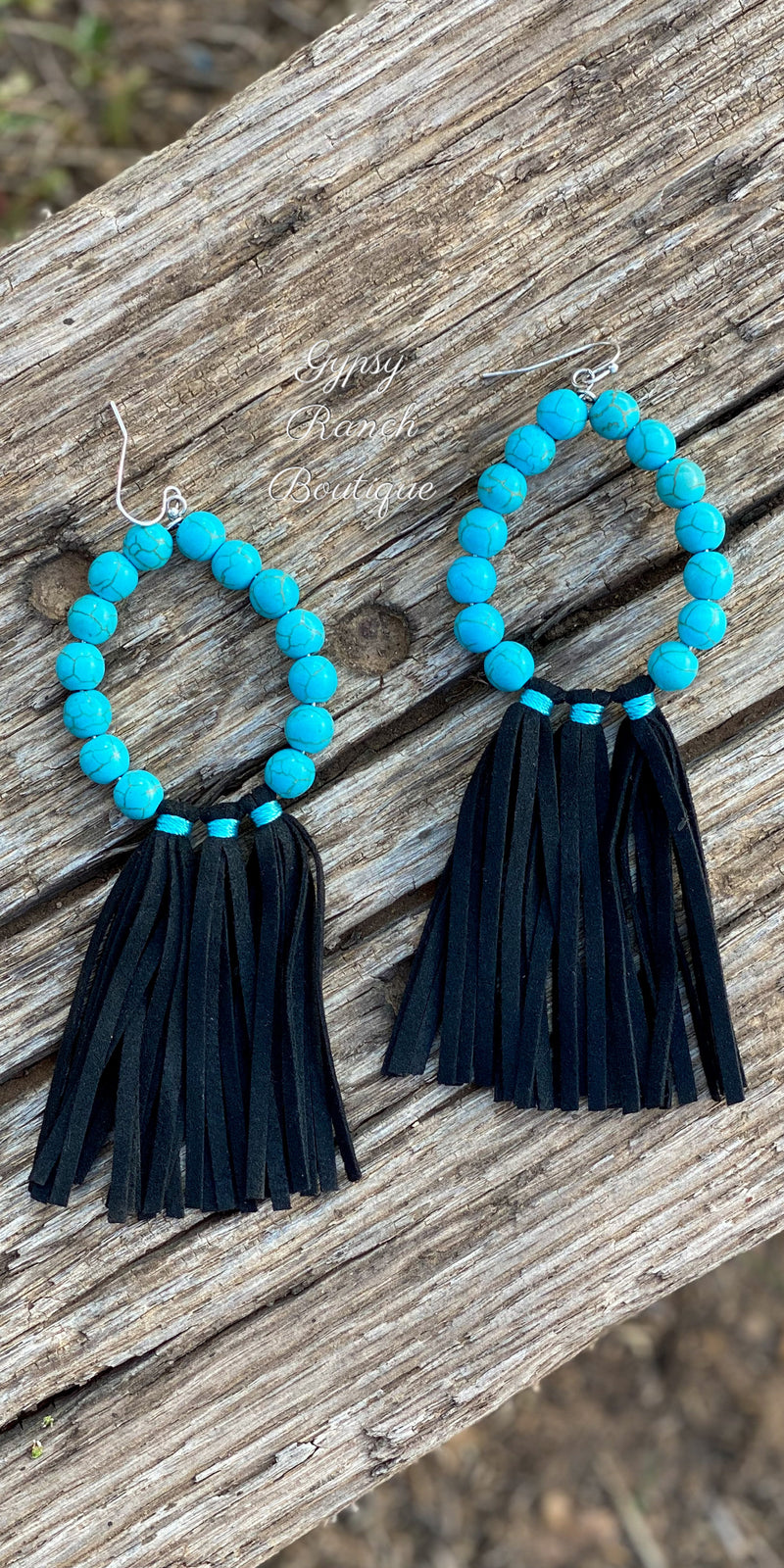 Toronto Turquoise Black Fringe Tassel Earrings
