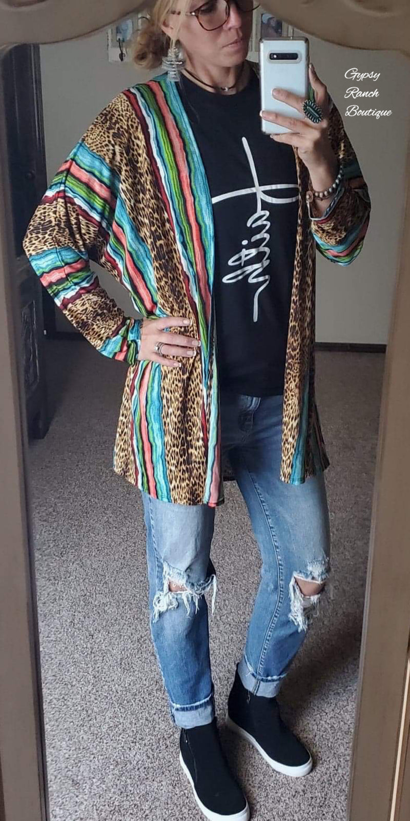 Vega Leopard Serape Cardigan  - Also in Plus Size