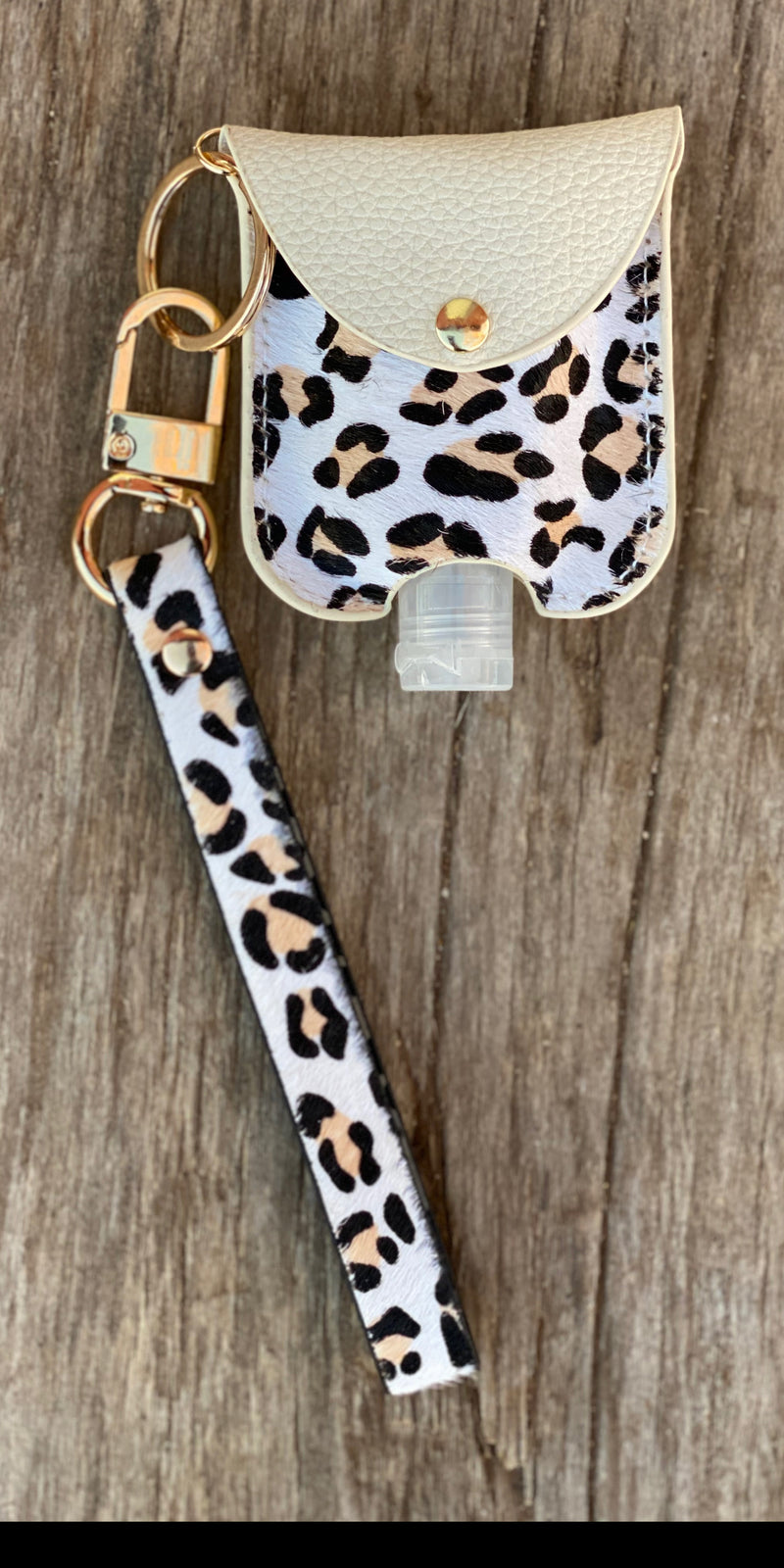 Leopard Hair On Hide Key Chain Hand Sanitizer