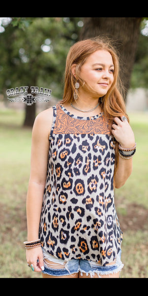 Cattle Drive Tooled Leopard Tank Top - Also in Plus Size