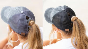 Criss Cross Back Ponytail Cap's - Several Colors