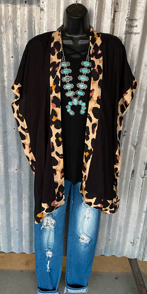 Fowler Black Leopard Cardigan Kimono - Also in Plus Size