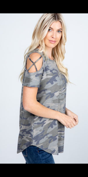 Carrizo Camo Criss Cross Shoulder Top - Also in Plus Size