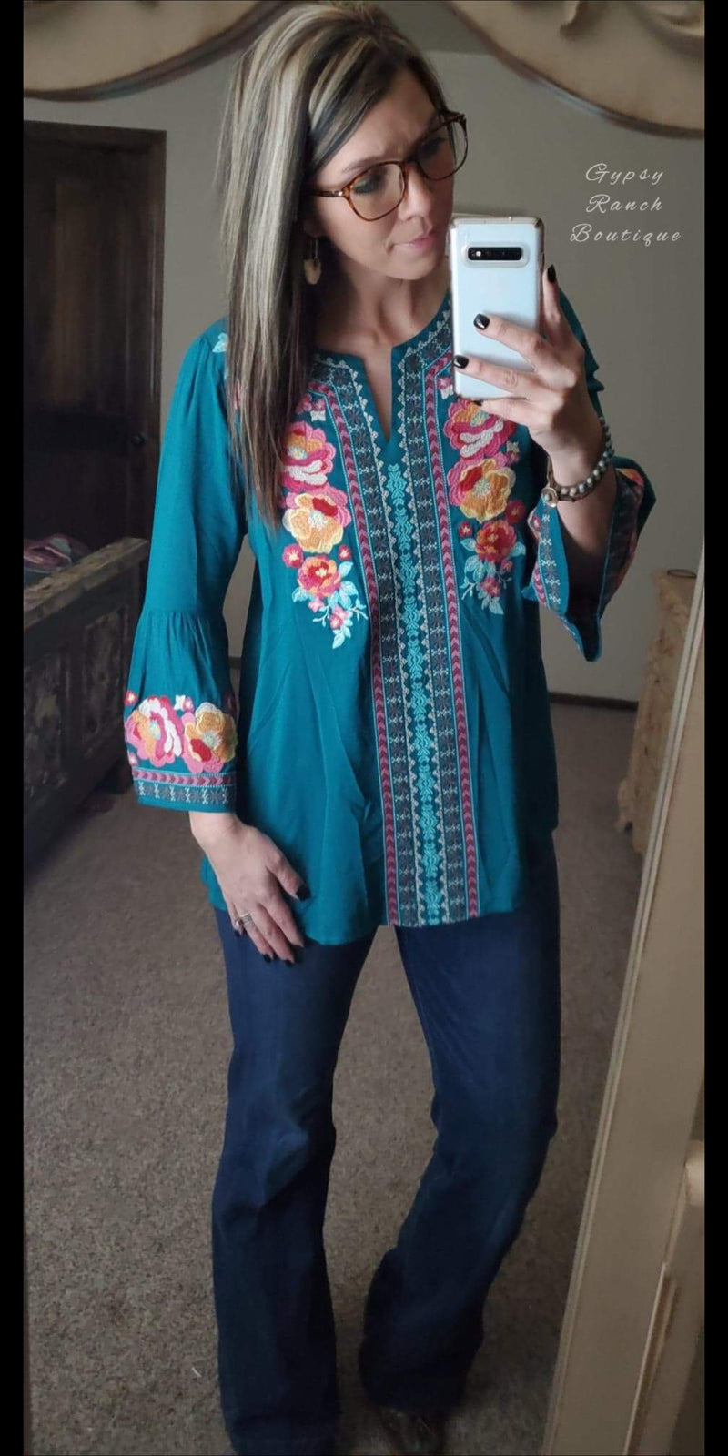 Carly Turquoise Embroidered Top