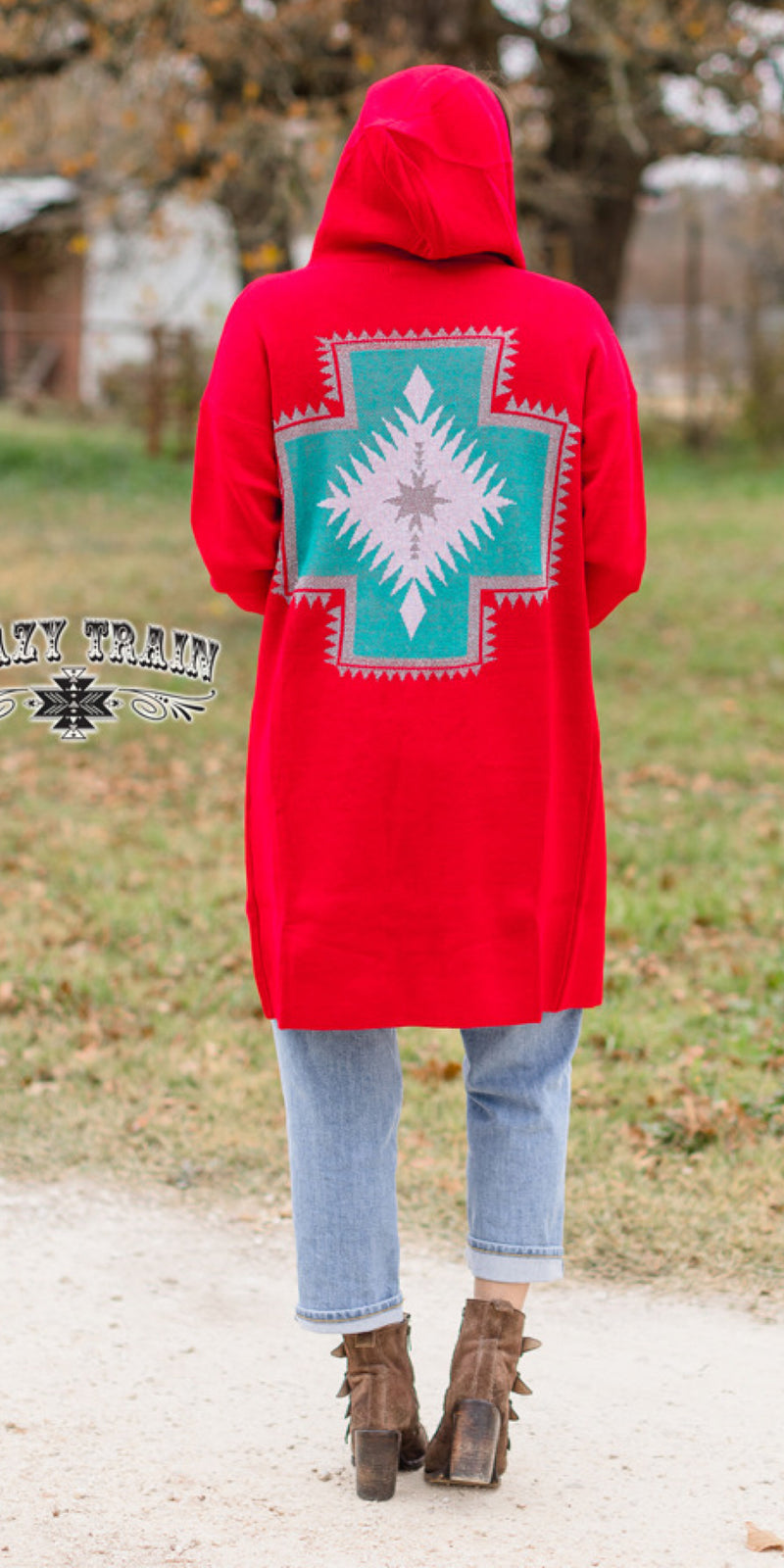WestWard Wonder Cross Red Cardigan - Also in Plus Size