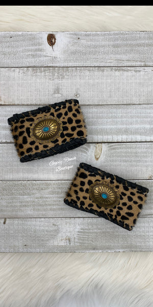 The Taylor Leopard Turquoise Concho Leather Cuff Bracelet