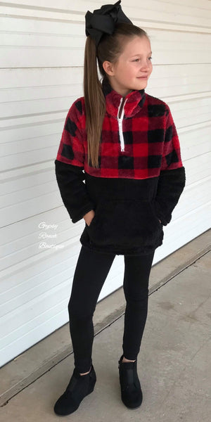 Delaney Buffalo Plaid Cozy Pullover in Kids