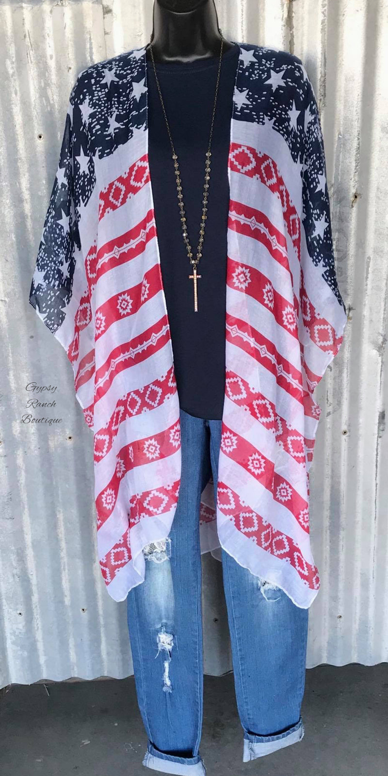 Backroads American Cardigan Kimono - Also in Plus Size