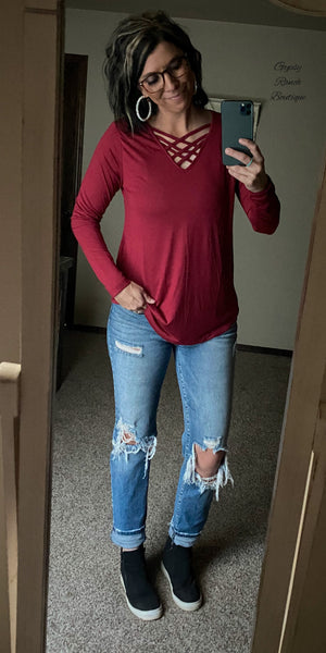 Caged In Burgundy Top - Also in Plus Size