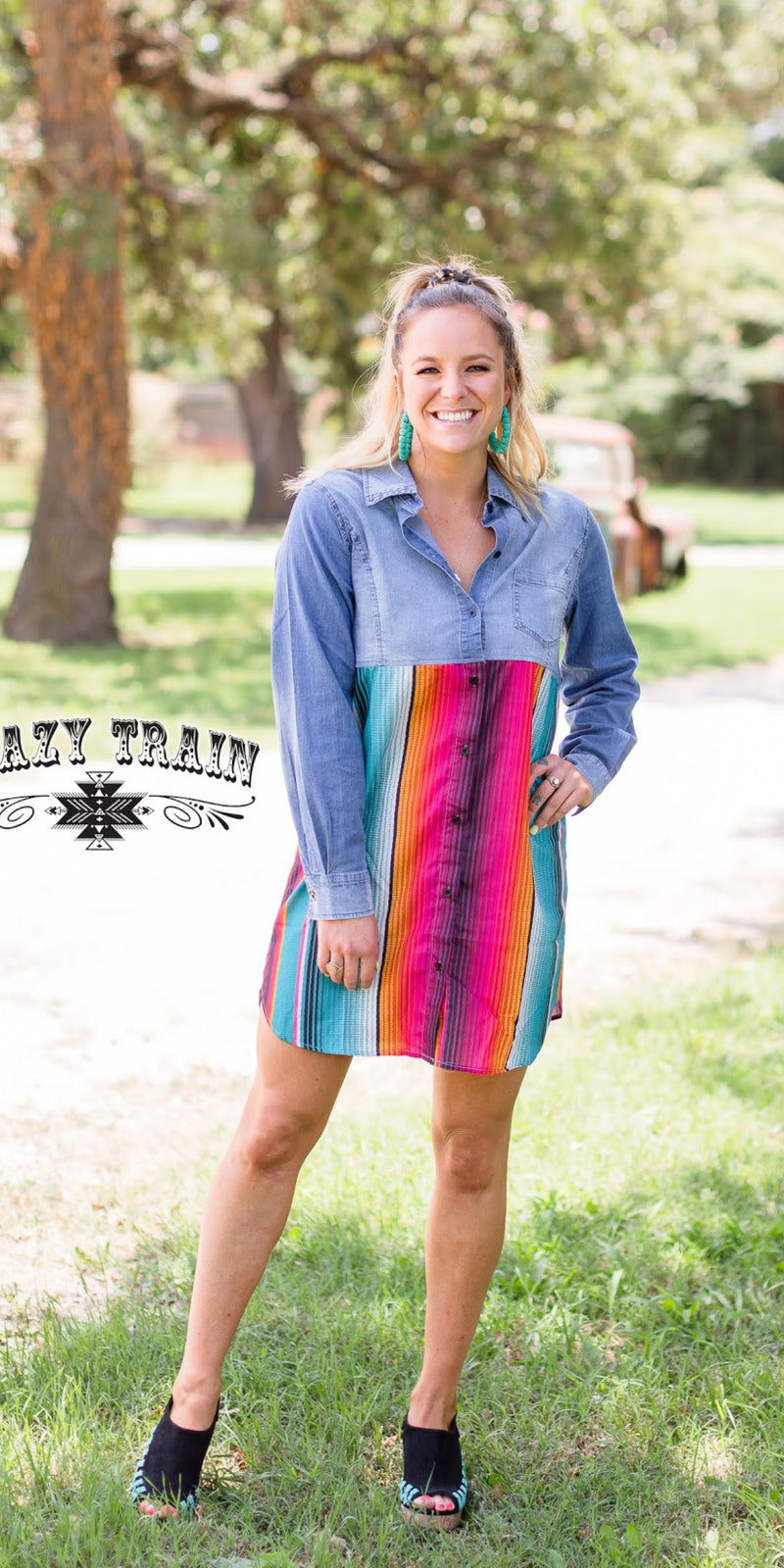 Rodeo Grounds Serape Denim Tunic Dress - Also in Plus Size