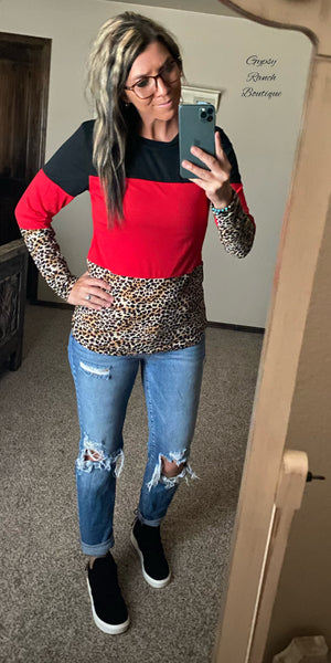 Reata Red Leopard Top - Also in Plus Size
