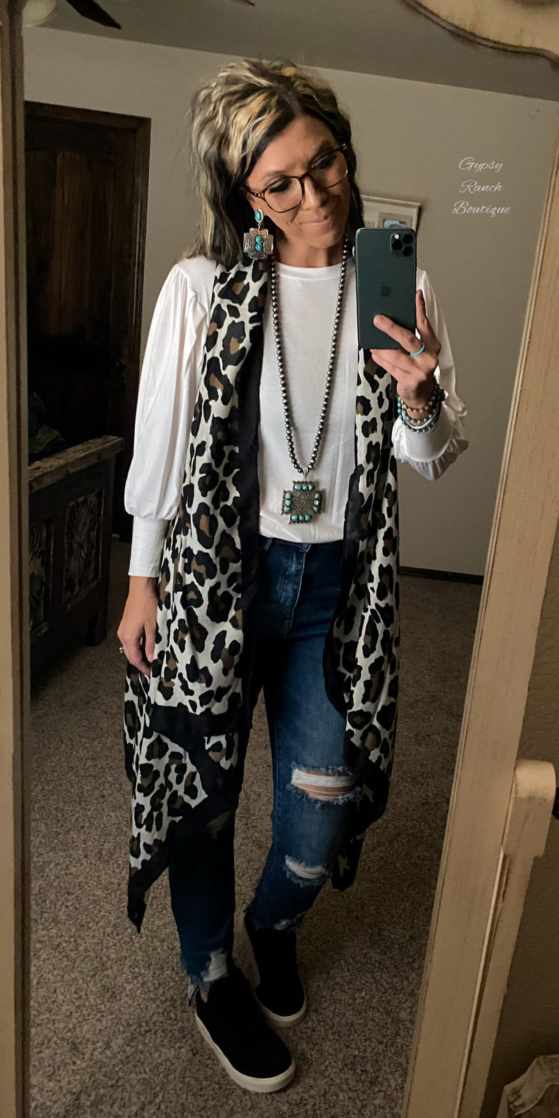 Spring Creek Leopard Kimono Vest- Also in Plus Size