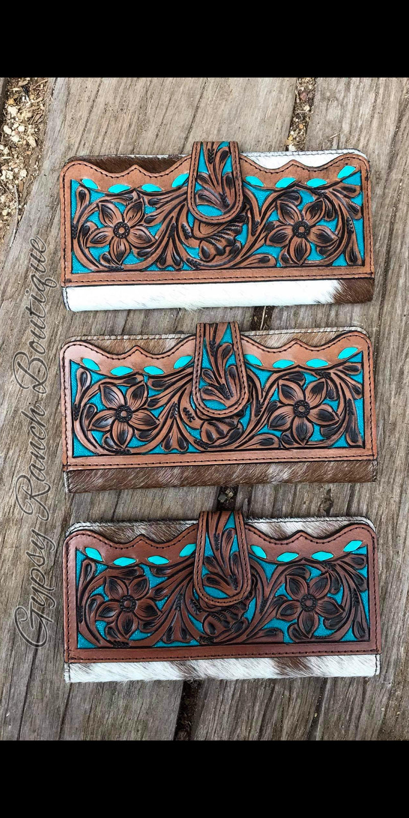 Ponderosa Leather & Cowhide Tooled Wallet
