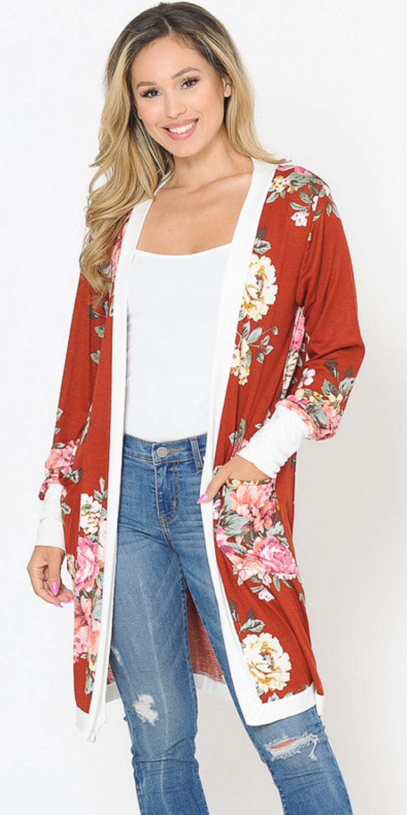 Rust I Ask You Floral Cardigan - Also in Plus Size