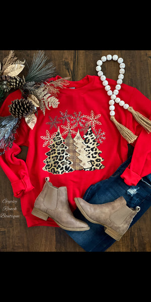 What Christmas Dreams are Made of Leopard Sweatshirt Top - Also in Plus Size