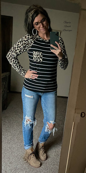 Jaylie Leopard & Stripe Top - Also in Plus Size