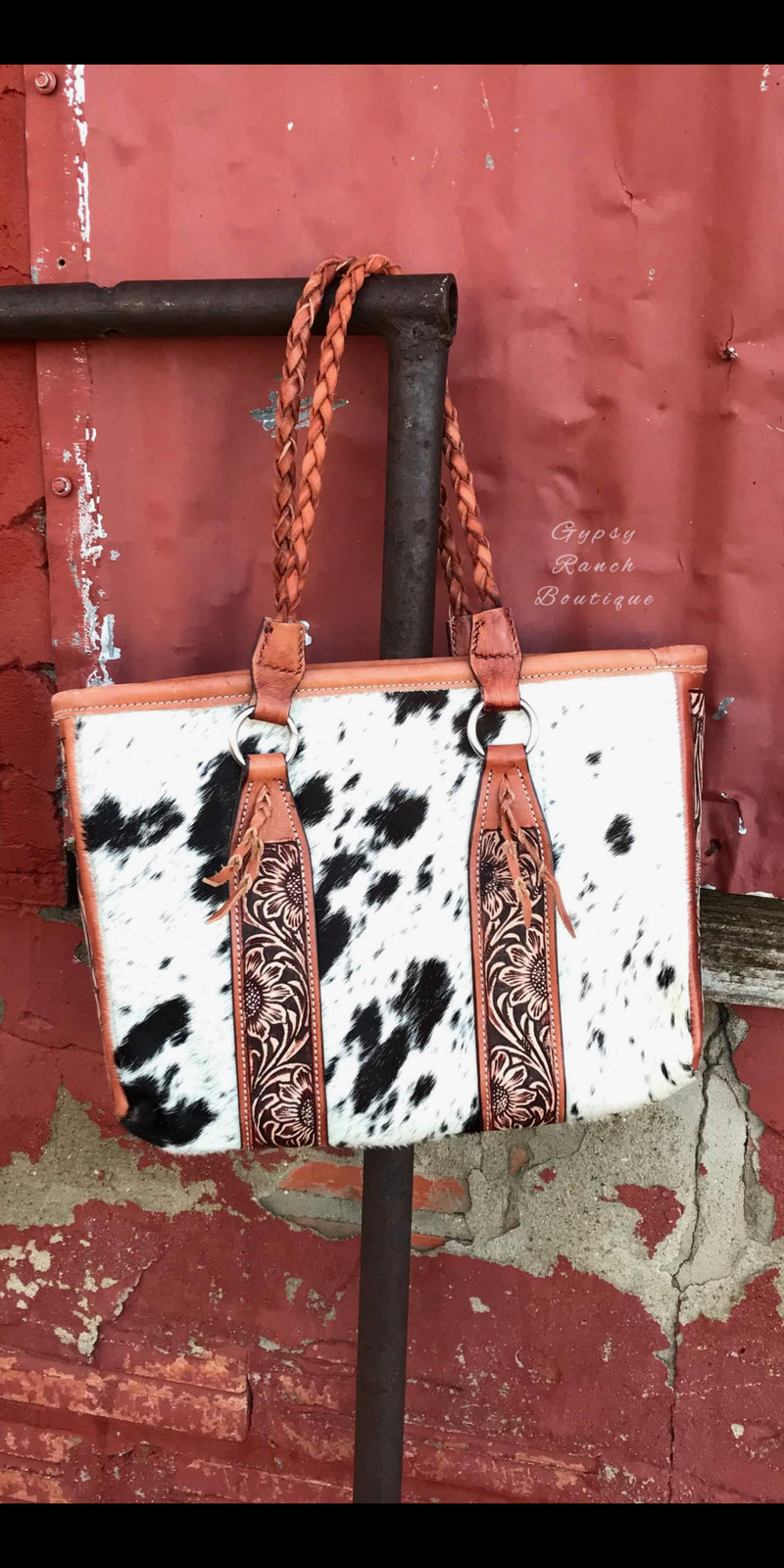 Stockyards Cowhide Tooled Purse