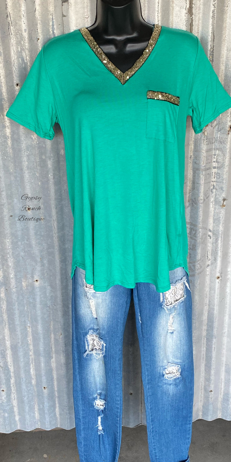 Cherokee Kelly Green Sequin Top - Also in Plus Size