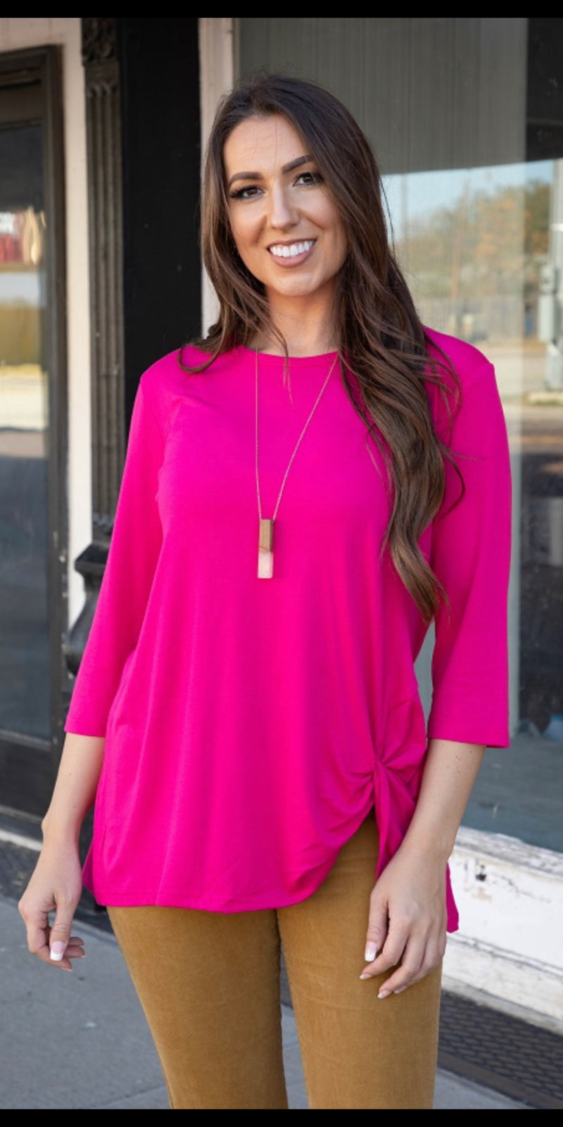 Frisco Hot Pink Knotty Top - Also in Plus Size