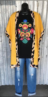 Baytown Mustard Leopard Cardigan Kimono - Also in Plus Size