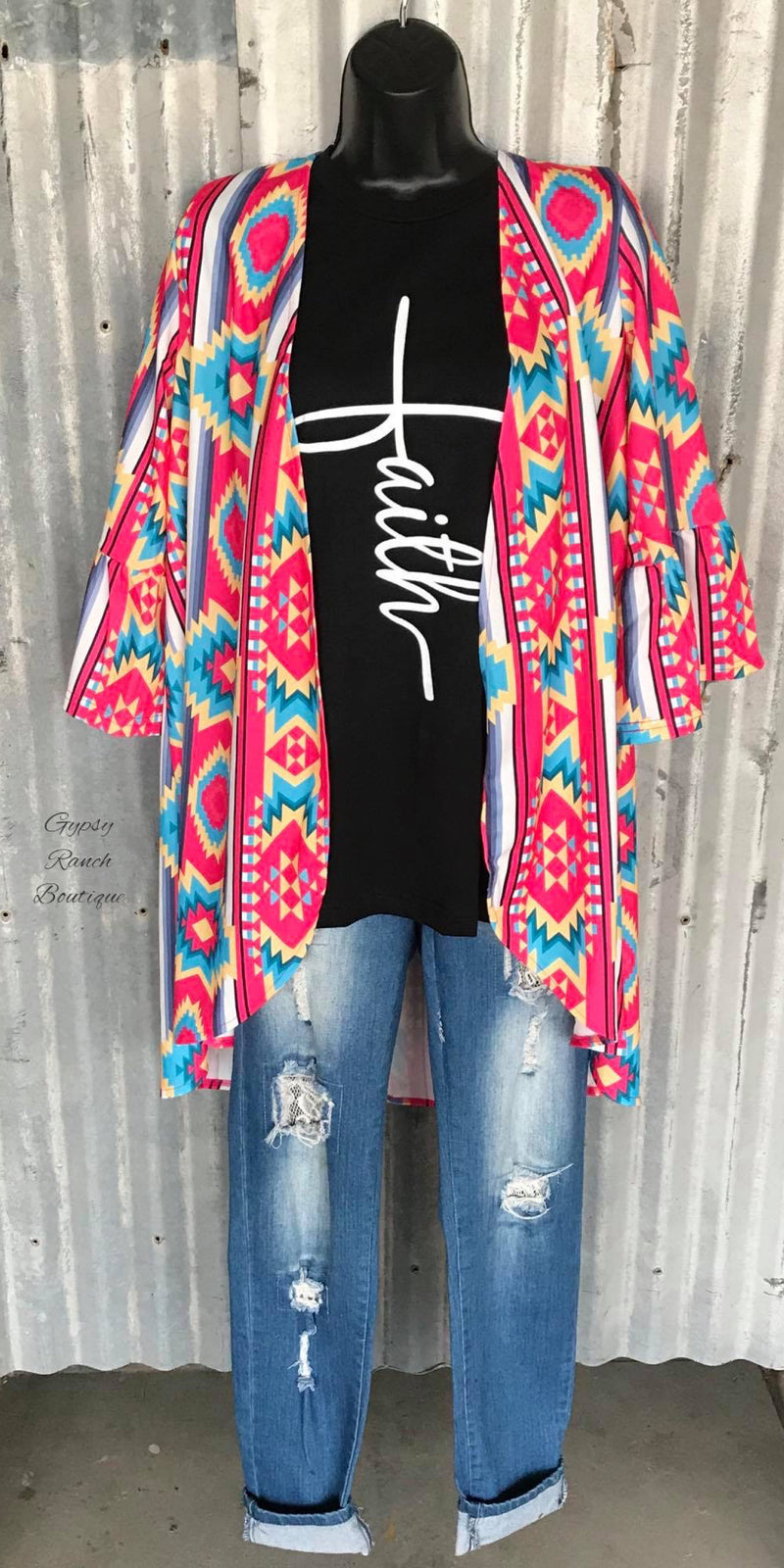 Jackson County Aztec Cardigan Kimono -  Also in Plus Size