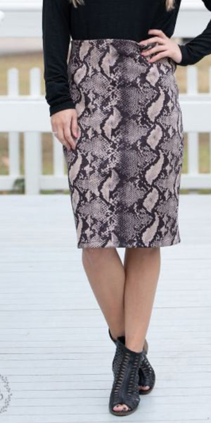Snake Craze Print Skirt - Also in Plus Size
