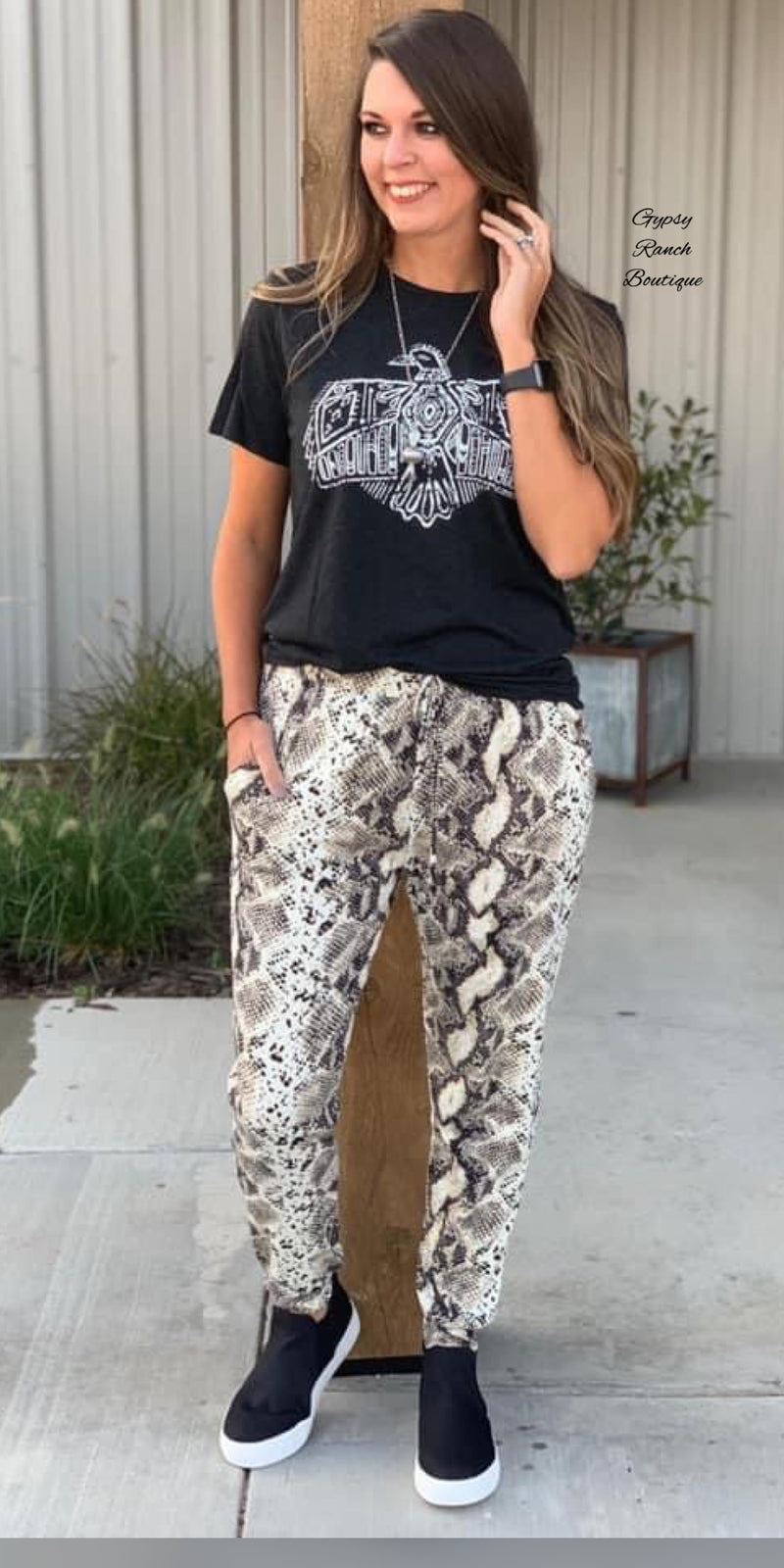 Snake Print Jogger Pants - Also in Plus Size