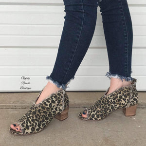 Very G Sunshine Leopard Peep Toe Booties