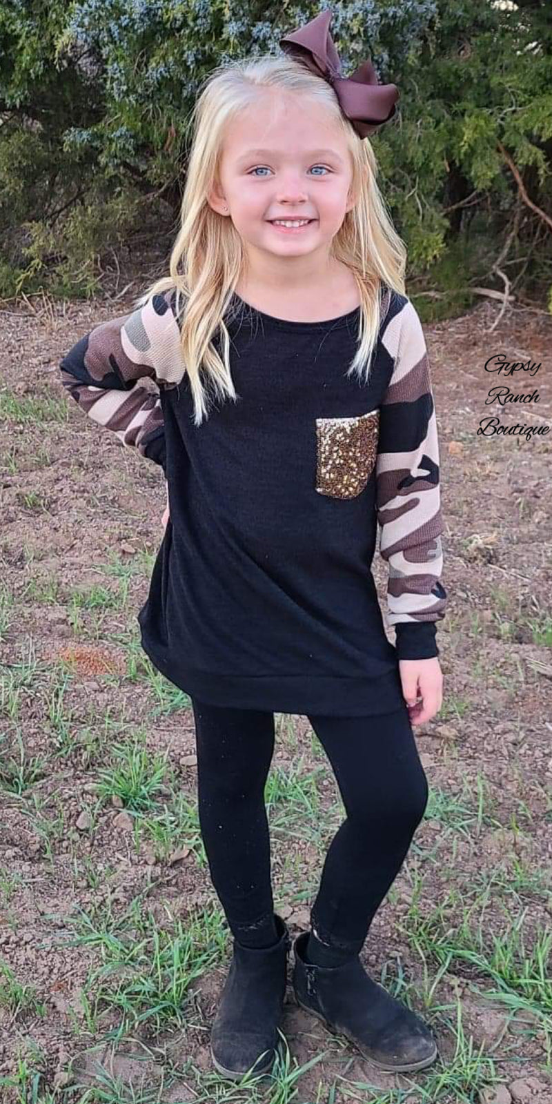 Shoot Like A Girl Camo Sequin Pocket Top Kids