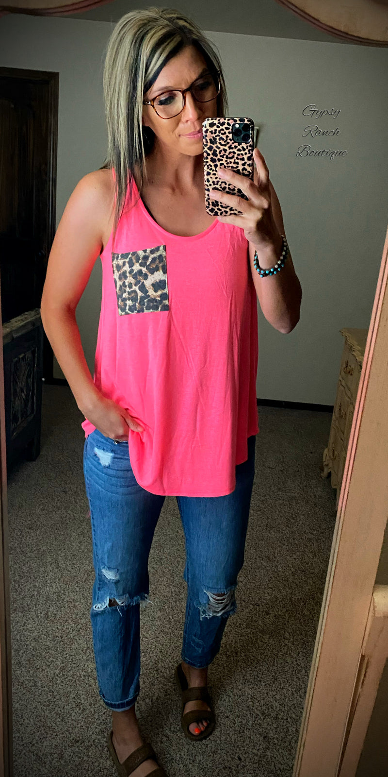 Cicily Neon Pink Leopard Pocket Tank Top - Also in Plus Size