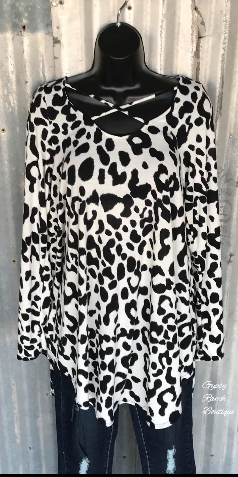 Late Night Snow Leopard Criss Cross Top - Also in Plus Size