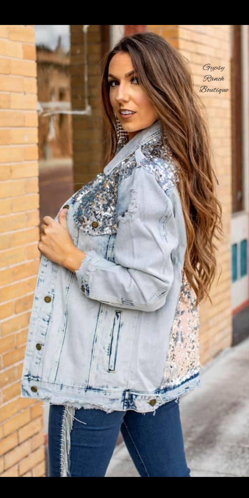 Dress to Impress Distressed Denim Sequin Jacket - Also in Plus Size