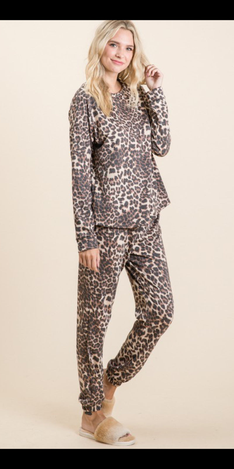 Leopard Lounge Wear Set - Also in Plus Size