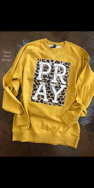 PRAY Mustard Leopard Pullover Top  - Also in Plus Size